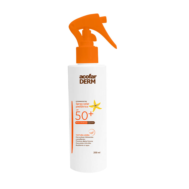 Acofarderm Spray Solar Pediátrico SPF50+ 200ml.